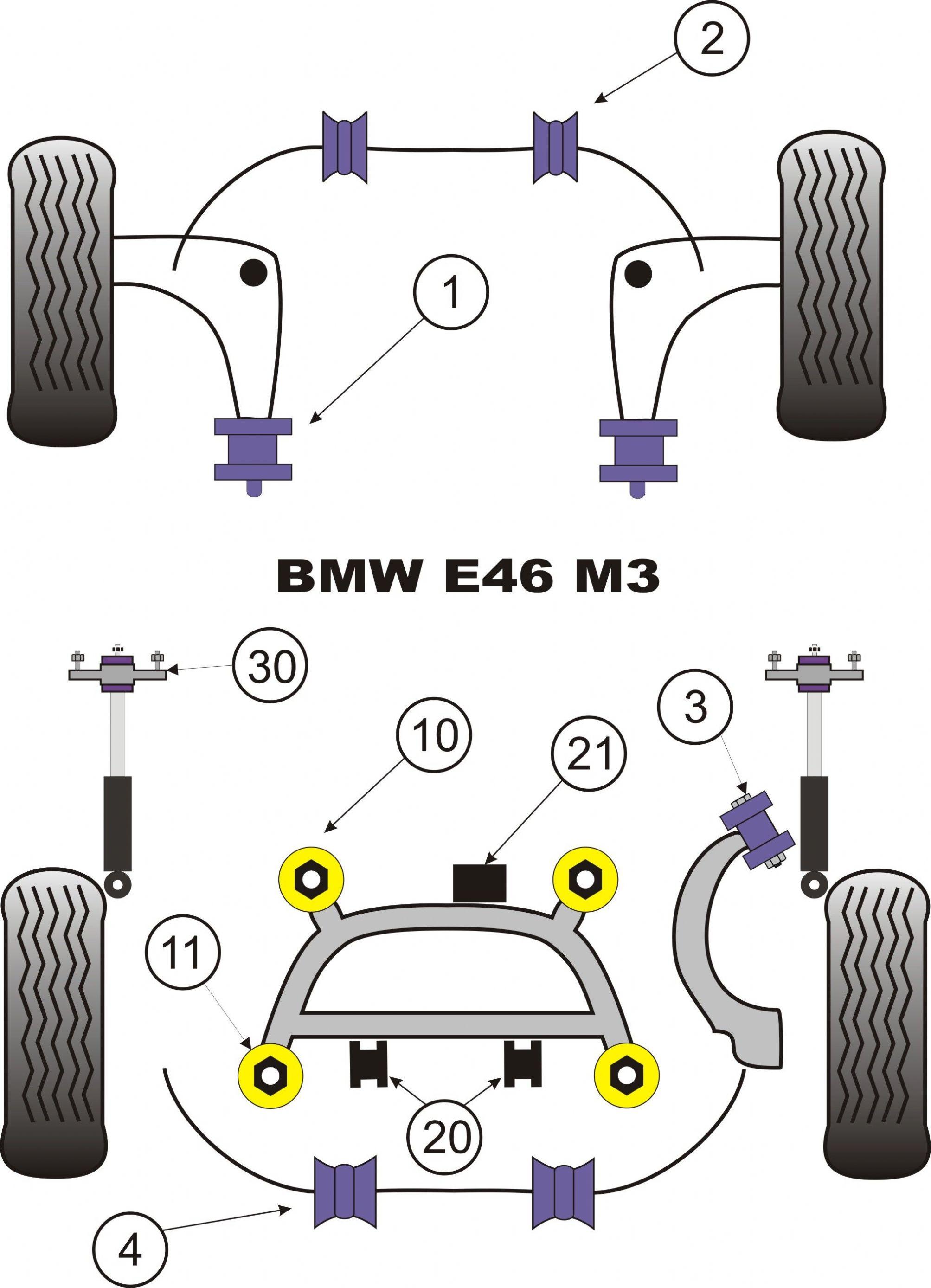 Powerflex Rear Shocker Top Mount Bracket & Bush 12mm BMW M3 E46 x2 Bushes  Car Kit PFR5-5630-12